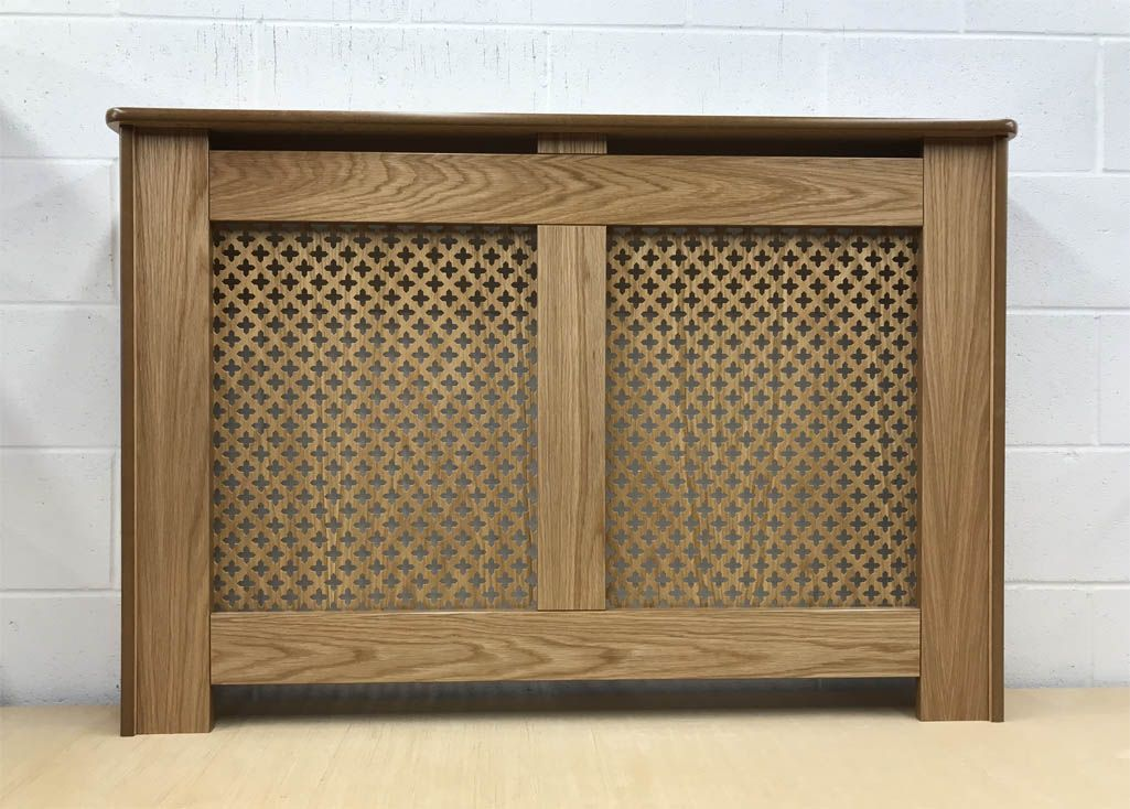 Oak effect radiator cover wire nail